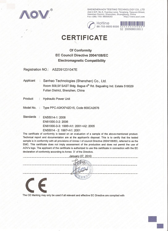 Hydraulic power unit CE certification