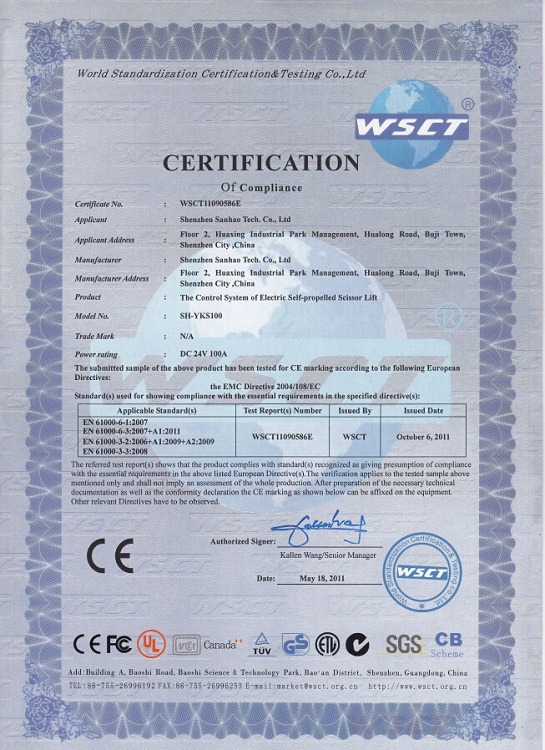 Electric control system of the CE certification
